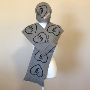 Juicy Couture hat and scarf set in black and grey